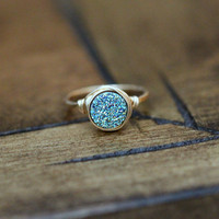 Teal Round Druzy Ring - 8mm
