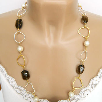 Chunky Smoky Quartz Link Necklace Handcrafted Long Pearl Gemstone