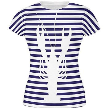 Lobster Navy Nautical Stripes All Over Juniors T Shirt