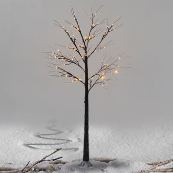 Brown Birch Snow Tree w/ LED Lights Christmas Xmas