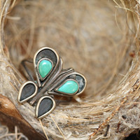 Boho Ring Turquoise Sterling Silver Butterfly Gypsy Hippie Navajo