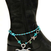 Turquoise Western Boot Bracelet Longhorn Charm