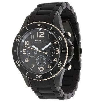 Marc by Marc Jacobs MBM2583 Men' Rock Chrono Black Dial Silicone Covered Black Plated Bracelet Watch
