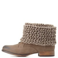 Sweater-Cuffed Combat Booties by Charlotte Russe - Taupe