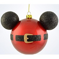 Disney Parks Mickey Icon Santa Belt Christmas Glass Ball Ornament New With Tags