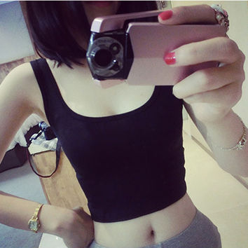 Sleeveless Sexy Crop tops Women Solid Tight Crop Tops Skinny U-Neck Workout Short