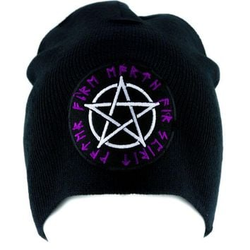 ac spbest Rune Script Wicca Pentagram Beanie Knit Cap Pagan Clothing Witchcraft Norse