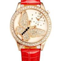 Women's Crystal Butterfly Wrist Watch