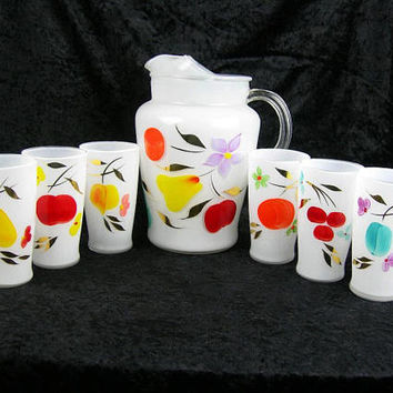 Bartlett-Collins White Pitcher and Six Tumblers, Hand-Painted Colorful Fruit, Vintage 1950s Kitchen Glassware, Gift for Wedding Hostess Wife