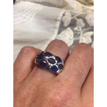 Vintage Handmade deep blue sapphire setting 925 Sterling Silver gothic Ring