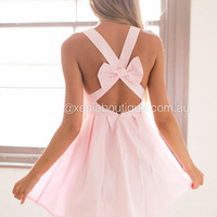 Blessed Angel Bow Back Dress ( Baby Pink) | Xenia Boutique | Women's fashion for Less - Fast Shipping