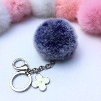 Silver Summer Series Blue Frosted REX Rabbit fur pompom keychain ball with flower bag charm