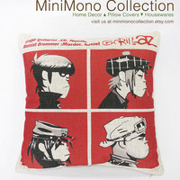 "Gorillaz ""Demon Days"" Cover  Linen Cotton Pillow Cover - British Band Throw Pillow - A 1966 song by The Beatles - 17"" x 17"""