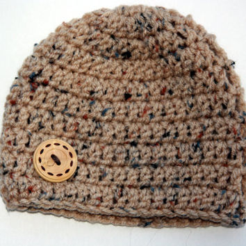 Tweed Baby hat for boy natural tweed tan with wood button accent crochet newborn 0-3 month photo prop