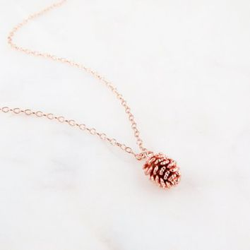 Rose Gold Pine Cone Necklace | Pine cone Necklace | Pinecone Gold | Tiny Pinecone Necklace | Gift For Her | Dainty Necklace