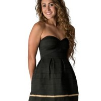Karlie Women's Black with Gold Strapless Elastic Dress