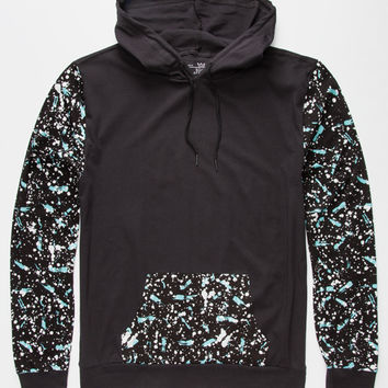 Blue Crown Paint Splatter Mens Lightweight Hoodie Black  In Sizes