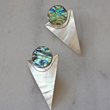 Vintage 1980s Galactic + Abalone Sterling Silver Earrings