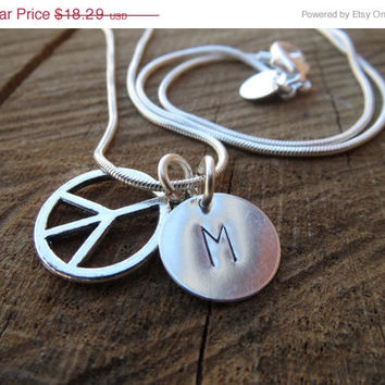 VALENTINE SALE Handstamped Initial Disc Necklace, Personalized Necklace, Peace Charm Necklace,925 Sterling Silver Chain necklace