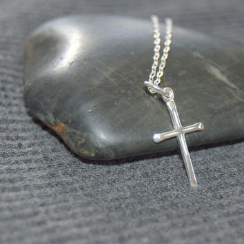sterling silver cross necklace, minimalist necklace, first communion, confirmation gift gift, religious jewelry, catholic gift