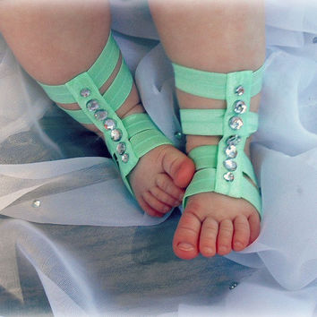 Baby Gladiator Sandals, Baby Girls Barefoot Sandals, Newborn Crib Shoes, Baby Gift, Baby Sandals, Baby Girls Gladiator Sandal, Baby Shoes