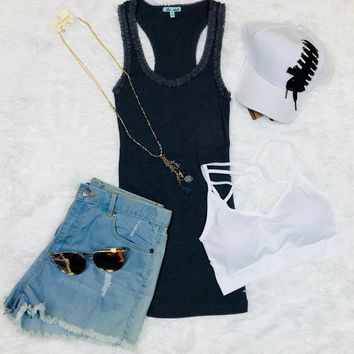 Ruffle Neck Tank: Grey