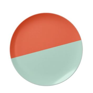Orange Red + Magic Mint Plates from Zazzle.com