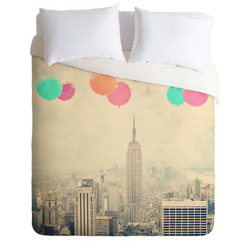 Maybe Sparrow Photography Balloons Over The City Duvet Cover