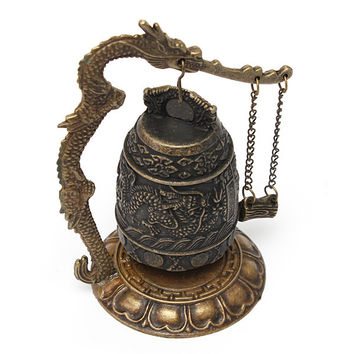 Beautiful Design Chinese Details About Dragon Retro Excellent Alloy Tibet Carved Dragon Buddha Buddhist Bell Decoration
