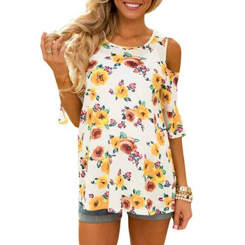 Cut Out Shoulders Floral Top