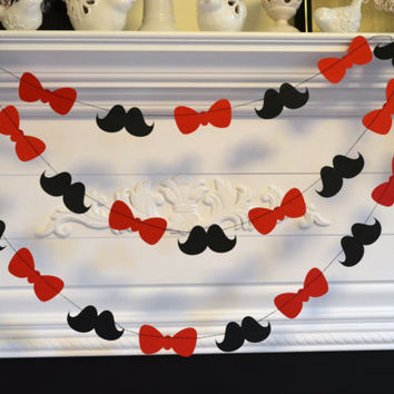 Mustache Bow Tie Party garland 10 ft Paper garland/Photo Prop Birthday Party Decor  Photo booth Prop - Black & Red Any occasion garland
