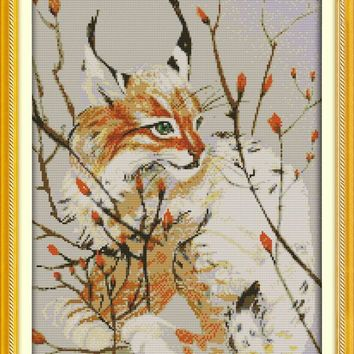 Hot The cat fairy cotton DMC Animal cross stitch kit 14ct white 11ct printed embroidery DIY handmade needle work wall home decor