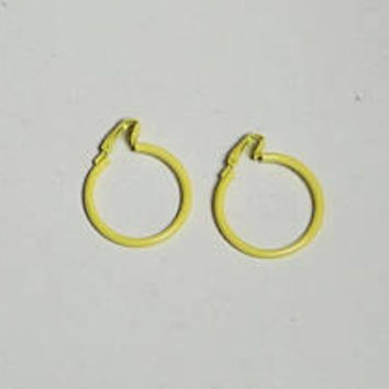 "Boho Clip On Hoop Earrings, Bright Yellow, Canary Yellow, Light Yellow, Hippie Jewelry, Bohemian Earrings, 1 1/4"" wide, Vintage 70s 80s"