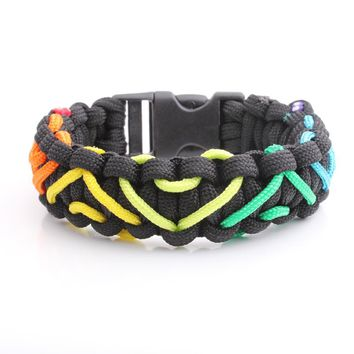 Rainbow Hearts Paracord Bracelet ,Outdoor Camping Survival Kits