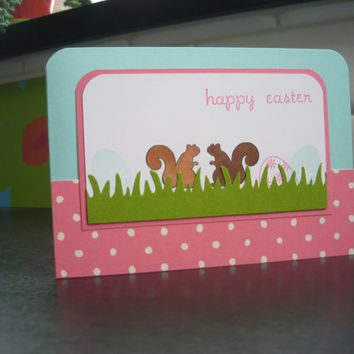 Easter Card Squirrels by apaperaffaire on Etsy