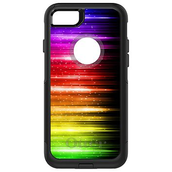 DistinctInk™ OtterBox Commuter Series Case for Apple iPhone or Samsung Galaxy - Rainbow Light Glowing Lines