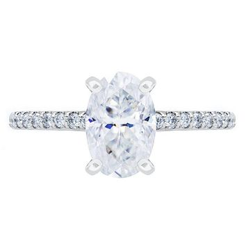 Skinny Oval Crushed Ice Moissanite 4 Prongs Diamond Accent Ice Solitaire Ring