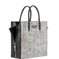 Balenciaga Paper Zip-Around Plate Tweed Tote Bag, Black