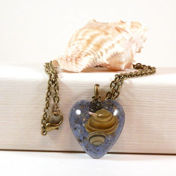 Resin Necklace - Seashell Resin Necklace - Resin Pendant - Seashell Pendant - Blue Pendant - Beach Pendant - Beach Necklace - Heart Pendant