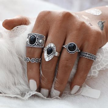 5 PCS Vintage Ring Sets Antique Alloy Nature Blue Stone Midi finger Rings for Women Steampunk Turkish Ring