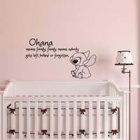 "Ohana Wall Decals Nursery- Ohana Means Family Wall Decal Quote Lilo and Stitch Vinyl Sticker Baby Kids Nursery Wall Art Home Decor |Q 049| by FabWallDecals (10"" Tall x 18"" Wide)"