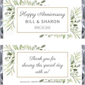 Greenery Anniversary Candy Bar Wrappers