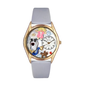 Whimsical Watches Healthcare Nurse Appreciation Gift Accessories Pediatrician Royal Blue Leather And Goldtone Watch