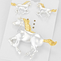 Two Tone Horse Brooch/ Pendant
