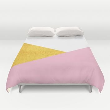 Gold & Pink Geometry Duvet Cover by ARTbyJWP