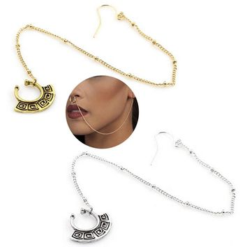 New Nose Rings and Studs Fake Piercing Summer Style Crystal Nose Hoop Fake Nose Rings&Studs Ear Chain Women Body Jewelry