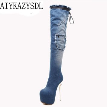 AIYKAZYSDL Women Snow Boots Faux Fur Denim Over The Knee Thigh High Boots Platform Ultra High Heel Stiletto Boots Fetish Shoe