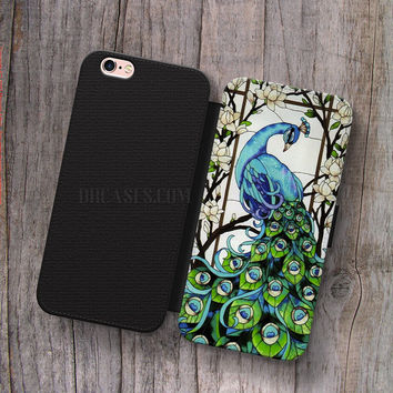 Wallet Leather Case for iPhone 4s 5s 5C SE 6S Plus Case, Samsung S3 S4 S5 S6 S7 Edge Note 3 4 5 peacok tiffany Cases