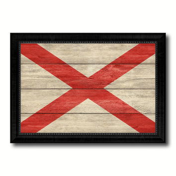 Alabama State Flag Texture Canvas Print with Black Picture Frame Home Decor Man Cave Wall Art Collectible Decoration Artwork Gifts
