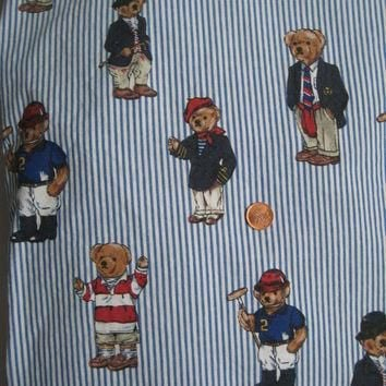 Vintage Ralph Lauren Polo Bear TWIN Size Fitted Sheet Striped Bedding Gently Used Clea